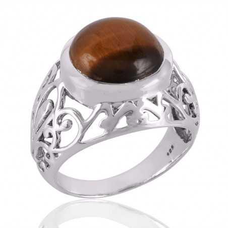 Tiger Eye Gemstone 925 Sterling Silver Ring
