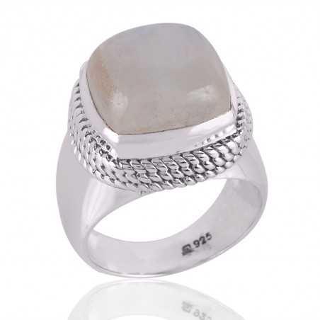 Rainbow moonstone Gemstone 925 Sterling Silver Ring