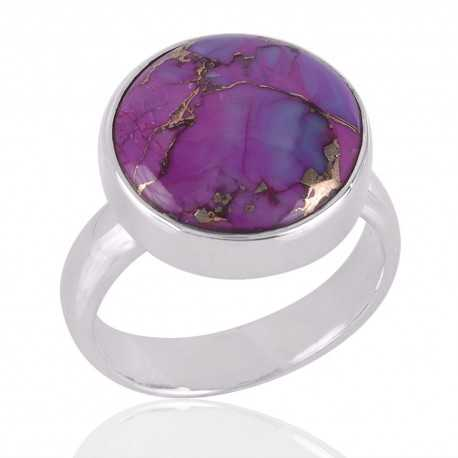 Purple Copper Turquoise Gemstone 925 Sterling Silver Rimg