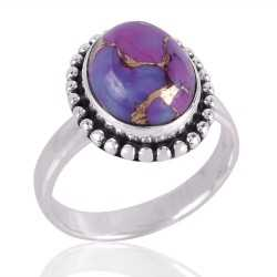 Purple Copper Turquoise Gemstone 925 Sterling Silver Ring
