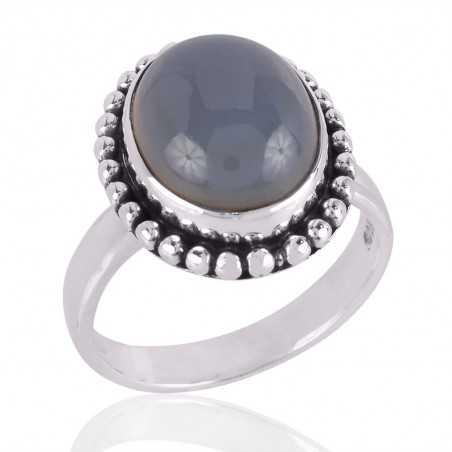 Blue Onyx Gemstone 925 Sterling Silver Ring