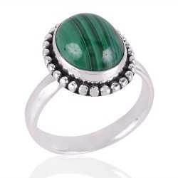 Malachite Gemstone 925 Sterling Silver Ring