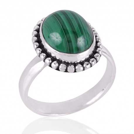 Malachite Gemstone 925 Sterling Silver Ring