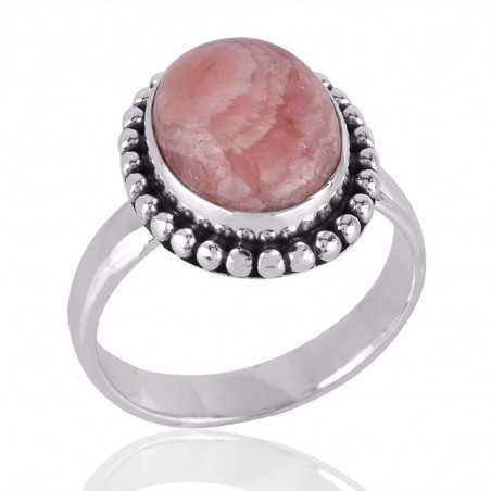Rhodochrosite Gemstone 925 Sterling Silver Ring