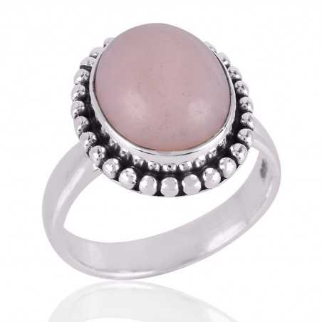 Pink Opal Gemstone 925 Sterling Silver Ring