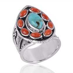 Arizona Turquoise & Coral Cab Gemstone 925 Sterling Silver Ring