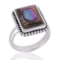 Abalone Shell Gemstone 925 Sterling Silver Ring
