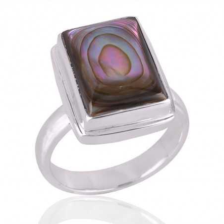 Abalone Shell Gemstone 925 Sterling Silver Ring