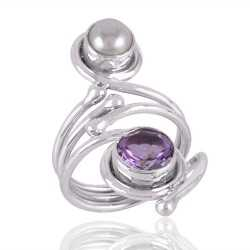 Amethyst & Pearl Gemstone 925 Sterling Silver Ring