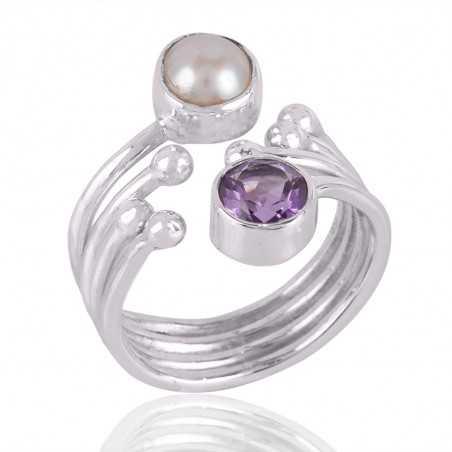 Amethyst & Pearl Gemstone 925 Sterling Silver Ring