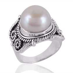 Pearl Gemstone 925 Sterling Silver Ring