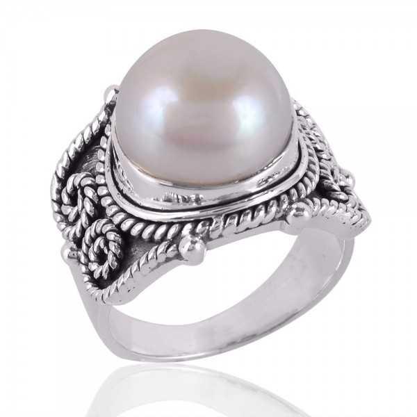 Pearl Gemstone 925 Sterling Silver Ring