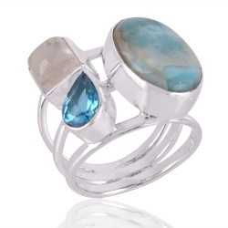 Larimar,Rainbow & Swiss Blue Topaz Gemstone 925 Sterling Silver Ring