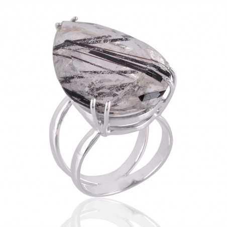 Tourmanilated Quartz Gemstone 925 Sterling Silver Ring