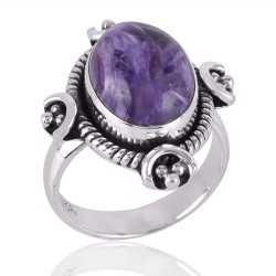 Charoite Gemstone 925 Sterling Silver Ring