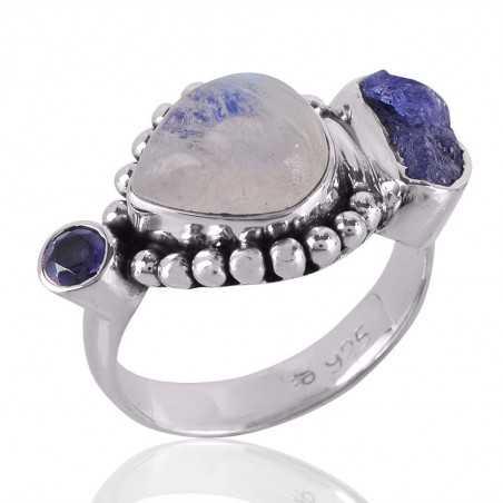 Iolite,Rainbow Moonstone &Tanzanite Rough A+ Gemstone 925 Sterling Silver Ring