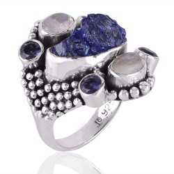 Iolite,Rainbow Moonstone &Tanzanite Rough A+ Gemstone 925 Sterling Silver Ring