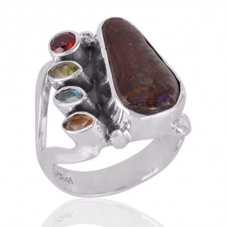 Ammolite,Citrine,Garnet,Peridot & Swiss Blue Topaz Gemstone 925 Sterling Silver Ring