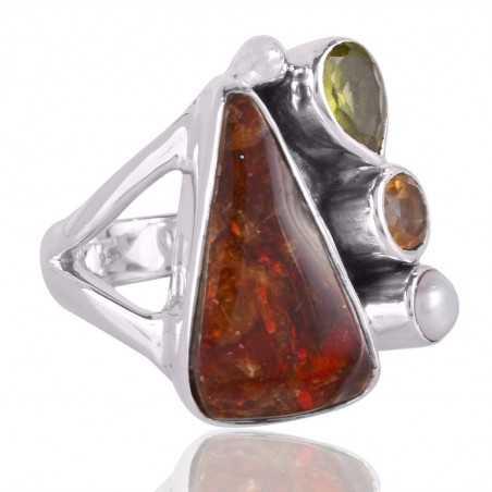 Ammolite,Citrine,Pearl & Peridot Gemstone 925 Sterling Silver Ring