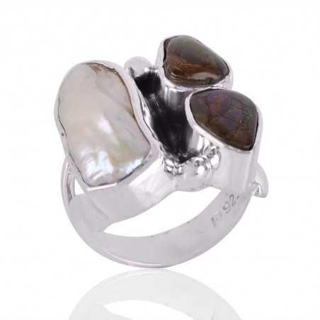 Ammolite & Biwa Pearl Gemstone 925 Sterling Silver Ring