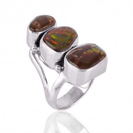 Ammolite Gemstone 925 Sterling Silver Ring