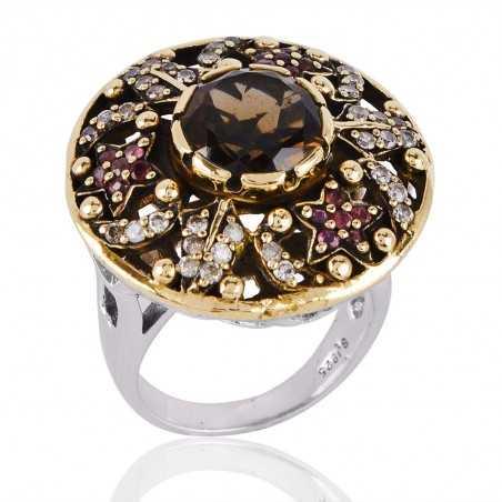 Pink Cubic Zirconia,Smoky Quartz & White Cubic Zirconia Gemstone 925 Sterling Silver Ring