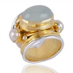 Chalcedony & Pearl Gemstone 925 Sterling Silver Ring