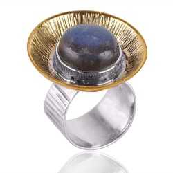 Two Tone unique Designer Sterling Silver And Brass Metal Ring With Natural Labradorite Gemstone