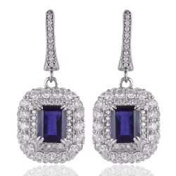 Iolite & White Cubic Zirconia Gemstone 925 Sterling Silver Plated Brass Earring
