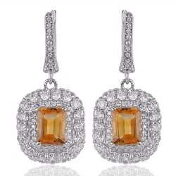 Citrine & White Cubic Zirconia Gemstone Silver Plated Brass Earring
