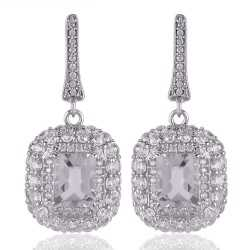 Crystal & White Cubic Zirconia Gemstone Silver Plated Brass Earring
