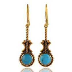 Arizona Turquise Gemstone Brass Earring