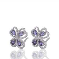 Iolite & White Cubic Zirconia Gemstone 925 Sterling Silver Earring