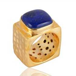 Brass Metal Stunning Design Lapis Lazuli Ring For Men