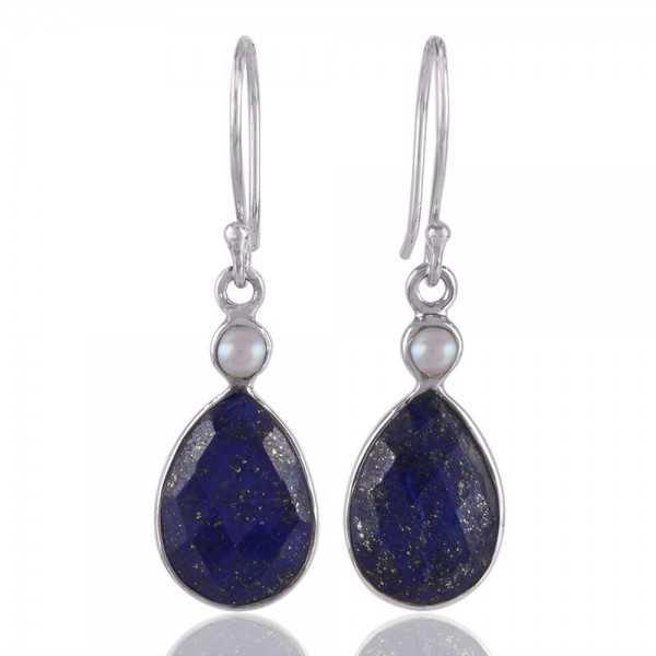 Lapis & Pearl Gemstone 925 Sterling Silver Earring