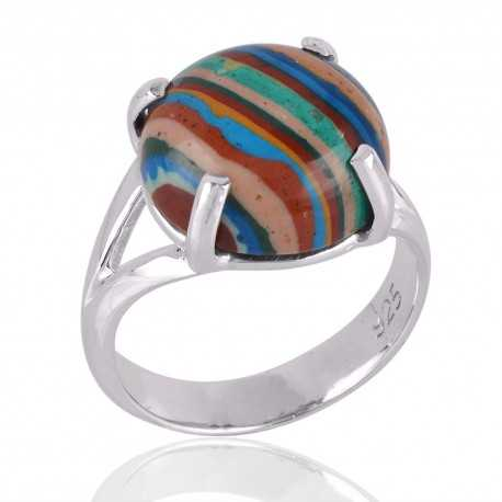Rainbow Calsilica Gemstone 925 Sterling Silver Ring