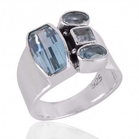 Sky Blue Topaz Gemstone 925 Sterling Silver Ring