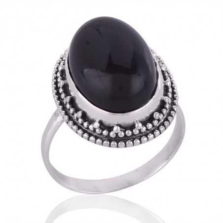 Black Onyx Gemstone 925 Sterling Silver Ring