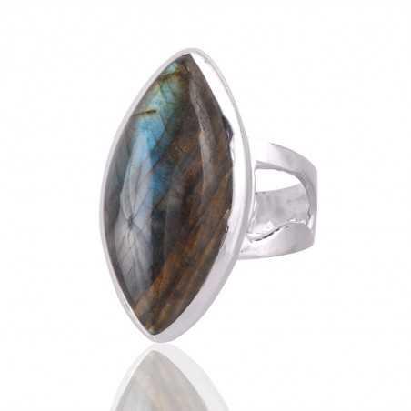 Labradorite Blue Flash marquise gemstone 925 Sterling Silver Ring