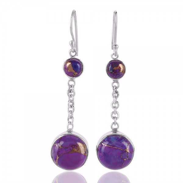 Purple Copper Turquoise Sterling Silver Dangle Earring