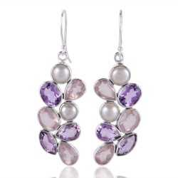 Rose Quartz Pearl Amethyst All Natural Gemstone Silver Earring