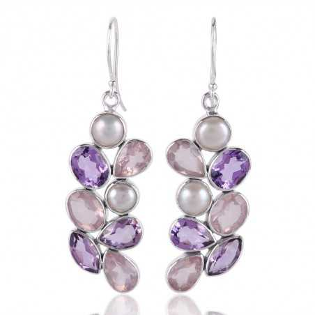 Rose Quartz Pearl Amethyst All Natural Gemstone Silver Earring