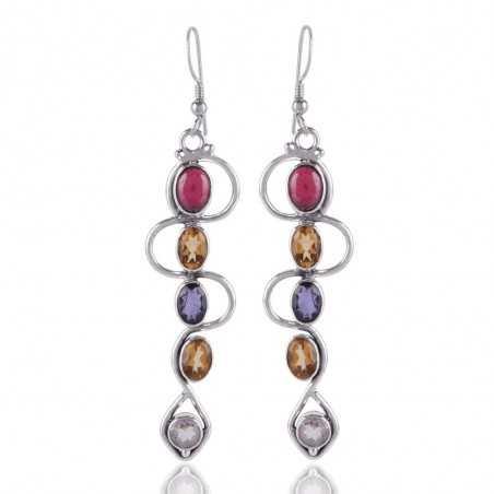 Tourmaline Main Gemstone Multi stone Earring 925 Sterling Silver Jewelry