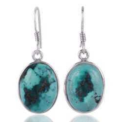 Plain Setting Natural Tibet Turquoise Gemstone Sterling Silver Dangle Earring