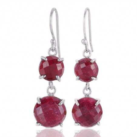 Prong Setting Roung Gemstone Natural Courundum 925 Sterling Silver Dangle Drop Earring