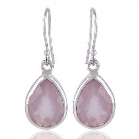 Natural Rose Quartz Gemstone 925 Sterling Silver Earring