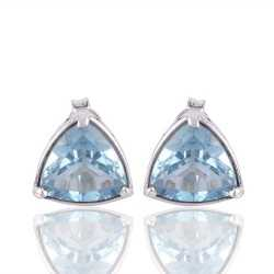 Blue Toapz Trillion Cut Gemstone 925 Sterling Silver Stud Earring