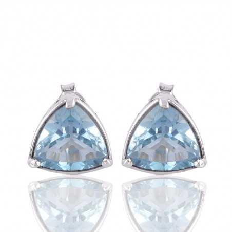 Blue Toapz Trillion Cut Gemstone 925 Sterling Silver Stud Earring