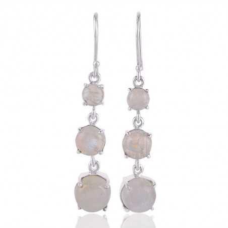 Rainbow Moonstone three Stone Dangle 925 Silver Earring