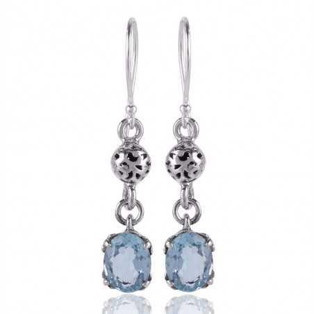 Sky Blue Topaz 925 Sterling Silver Designer Earring